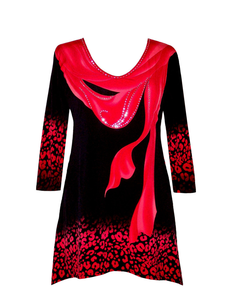 16453 Valentina Signa Red Scarf on Black