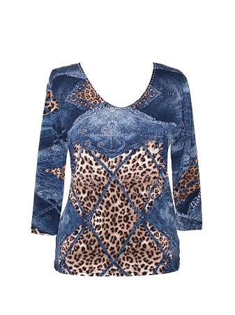 11784 Valentina Signa Leopard Blues Top
