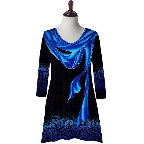 16453-2 Valentina Signa Blue Scarf on Black