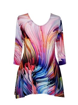 17537-1 Valentina Signa Multi Waves of Colors Tunic
