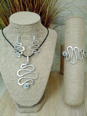 Squiggle Necklace, Earrings, Wristlets