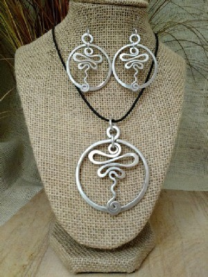 Circle Dragonfly Necklace, Earrings
