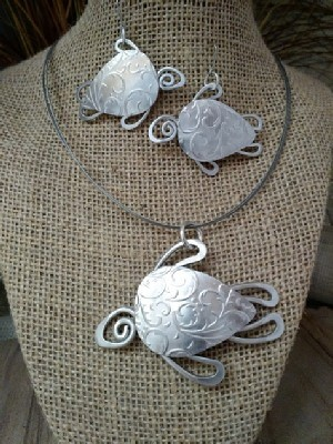 Sea Turtle Necklace, Earrings
