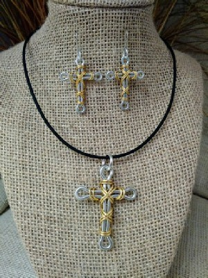 Mixed Metal Cross Necklace Earrings