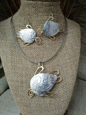 Mixed Metal Sea Turtle Necklace, or  Earrings